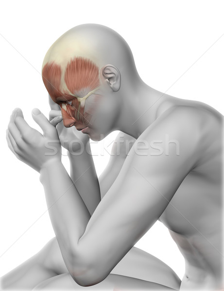 3D male figure with head pain Stock photo © kjpargeter