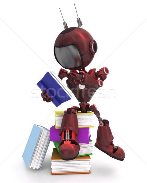 Android boglya könyvek 3d render Stock fotó © kjpargeter