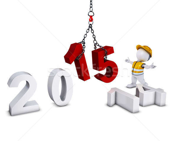 3D Morph Man bringing in the new year Stock photo © kjpargeter