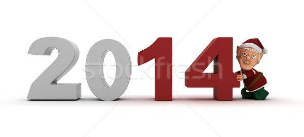 Stock photo: Elf character bringing in the new year