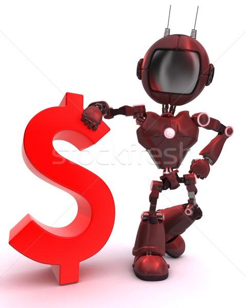 Androide signo de dólar 3d tecnología financiar robot Foto stock © kjpargeter