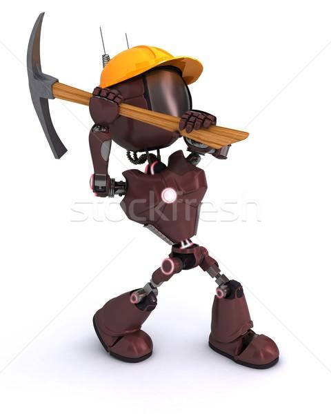 Android строителя топор 3d визуализации человека инструментом Сток-фото © kjpargeter
