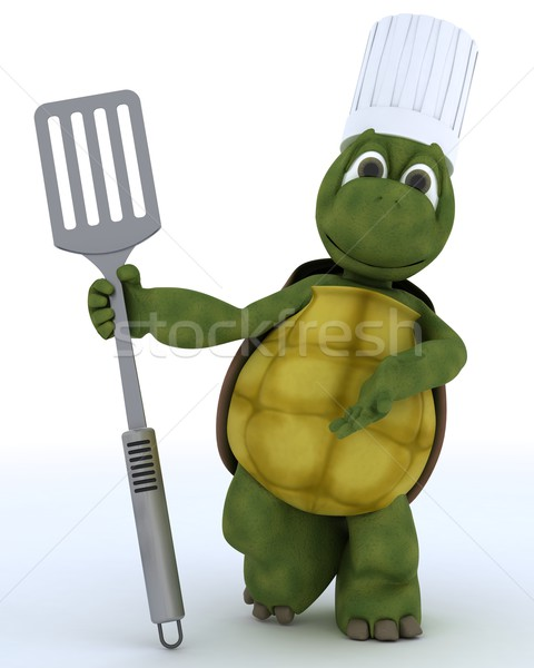 tortoise chef with fish slice Stock photo © kjpargeter