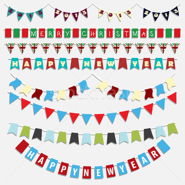 Christmas and New Year bunting Stock photo © kjpargeter