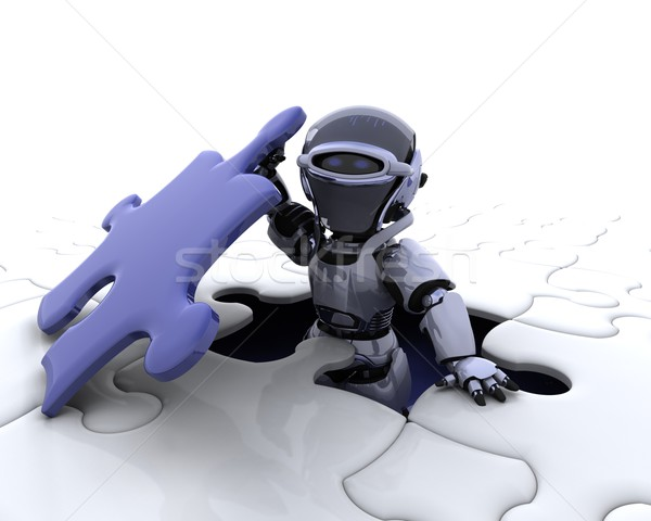 robot with the final piece of the puzzle Stock photo © kjpargeter