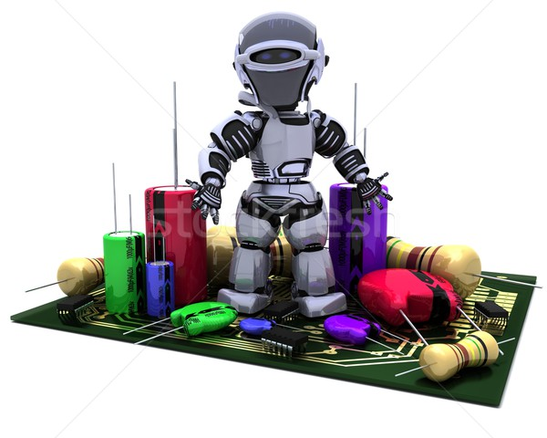 Robot With Capacitors Resistors and semi-conductors Stock photo © kjpargeter