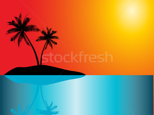 Tropisch eiland natuur zee blad achtergrond zomer Stockfoto © kjpargeter
