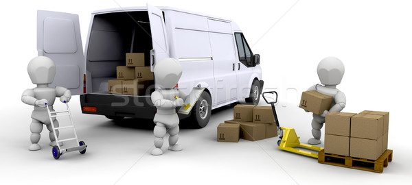 Furgon munkások dobozok férfi csapat szállítás Stock fotó © kjpargeter