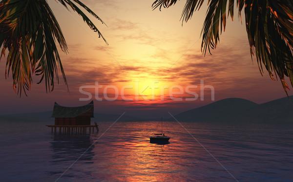 3d визуализации женщины солнечные ванны лодка тропические 3D Сток-фото © kjpargeter