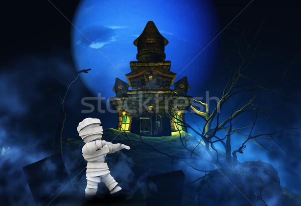 3D halloween zumbi assustador castelo 3d render Foto stock © kjpargeter