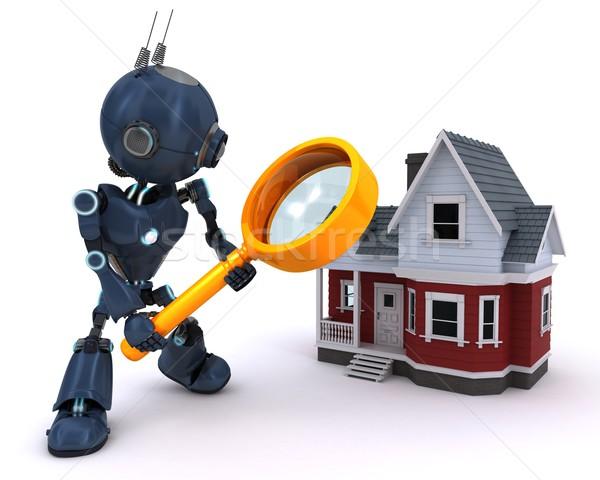 Android keres ház 3d render internet férfi Stock fotó © kjpargeter