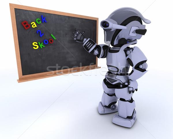 Robot with school chalk board Stock photo © kjpargeter