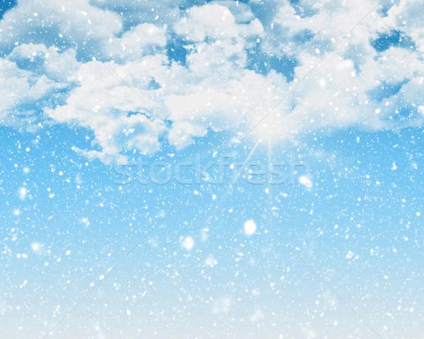 Blue sky ensolarado nevasca neve nuvens natureza Foto stock © kjpargeter