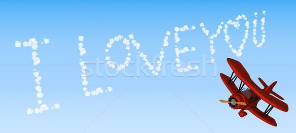 Kétfedelű repülőgép égbolt ír szeretet 3d render Stock fotó © kjpargeter