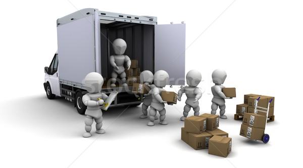 Férfiak csomagol dobozok szállítmány 3d render Stock fotó © kjpargeter