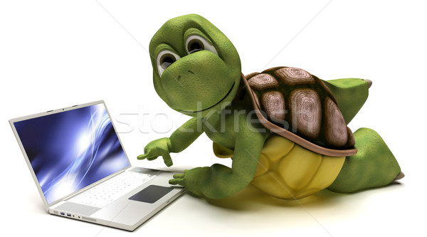 Schildpad laptop computer 3d render water laptop technologie Stockfoto © kjpargeter