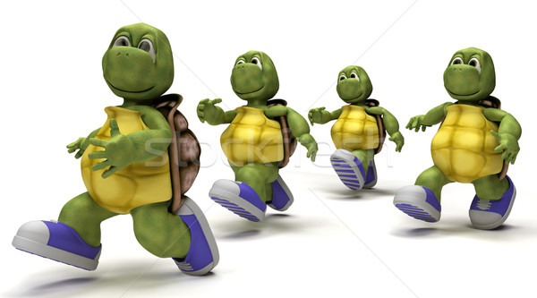 Tortoises running in sneakers  Stock photo © kjpargeter