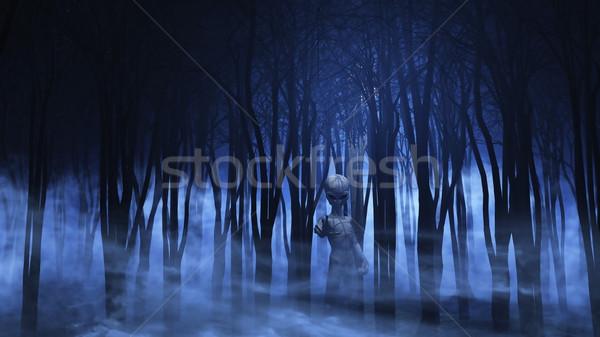 3D alienígena nebuloso floresta 3d render assustador Foto stock © kjpargeter