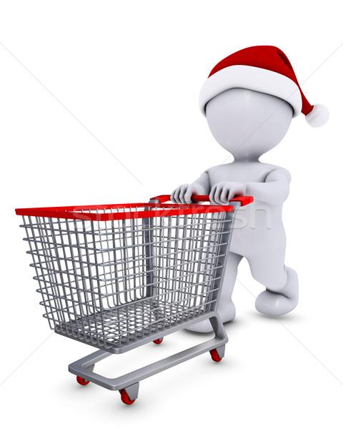 Morph Man with christmas shopping cart Stock photo © kjpargeter