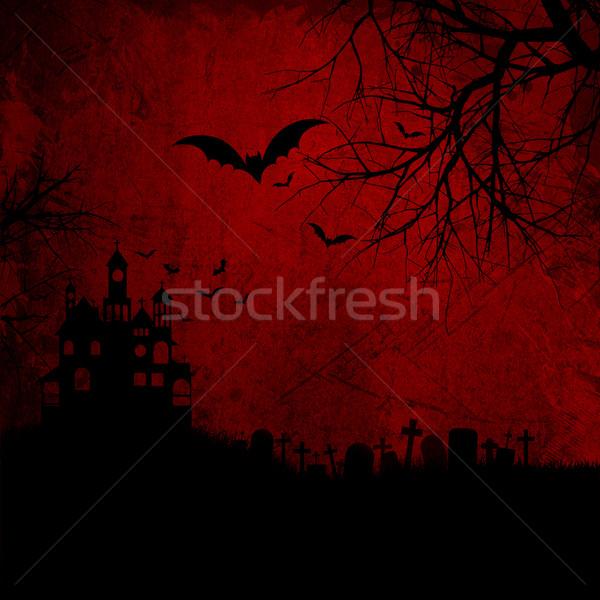Grunge halloween szczegółowy czerwony nawiedzony Zdjęcia stock © kjpargeter