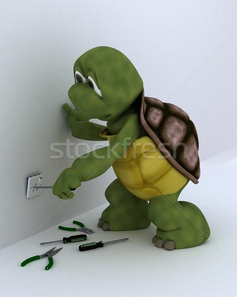 черепаха электрические 3d визуализации воды здании Сток-фото © kjpargeter