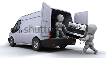 Stock photo: removal men loading a van