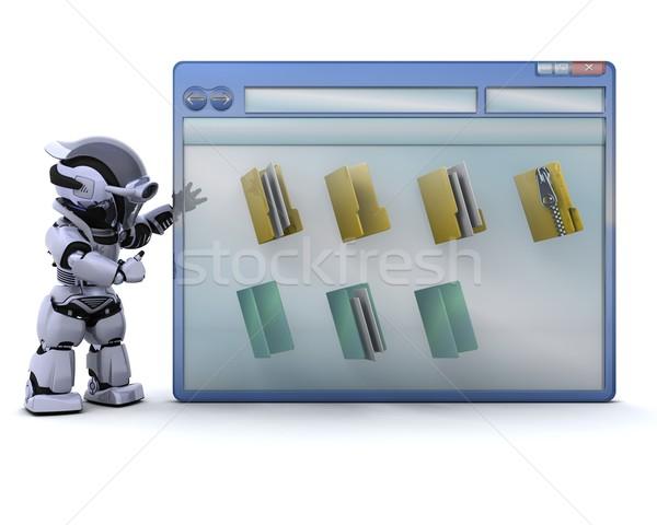 Stock foto: Roboter · Computer · Fenster · Ordner · Symbole · 3d · render