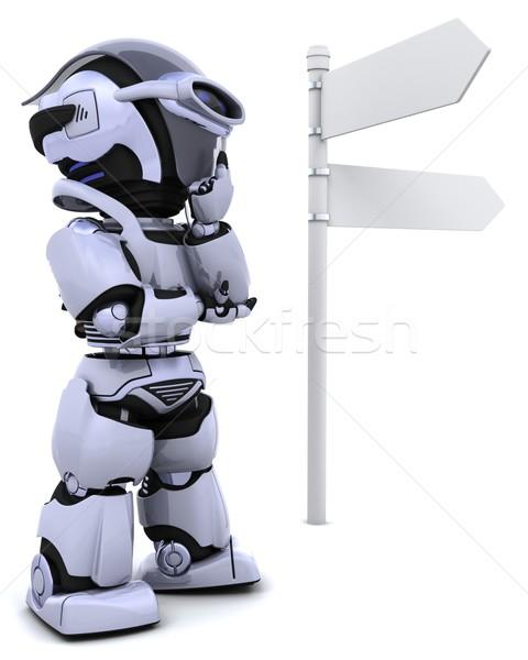 Stok fotoğraf: Robot · tabelasını · 3d · render · doğa · seyahat · gelecek