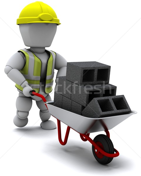 Builder with a wheel barrow carrying bricks Stock photo © kjpargeter