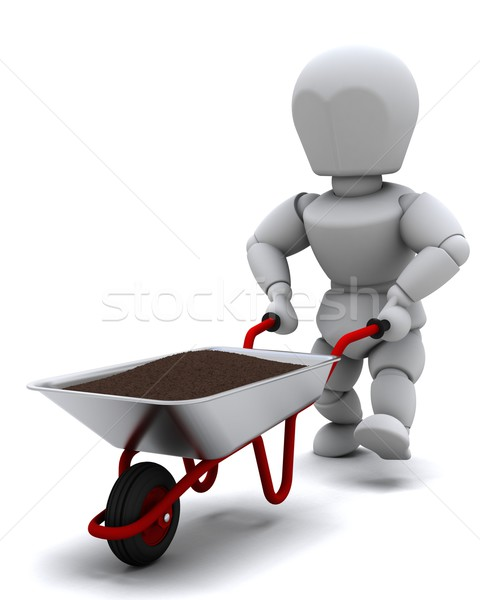 Gardener with a wheel barrow carrying soil Stock photo © kjpargeter