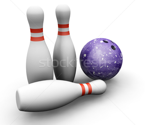Bowling skittles and ball Stock photo © kjpargeter