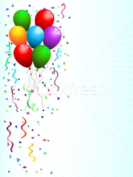 Buli léggömbök konfetti születésnap szalag karácsony Stock fotó © kjpargeter
