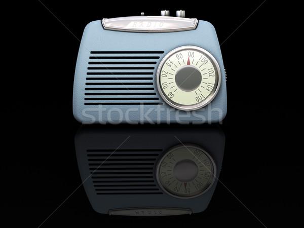 Stok fotoğraf: Retro · radyo · 3d · render · antika · elektronik · nesne
