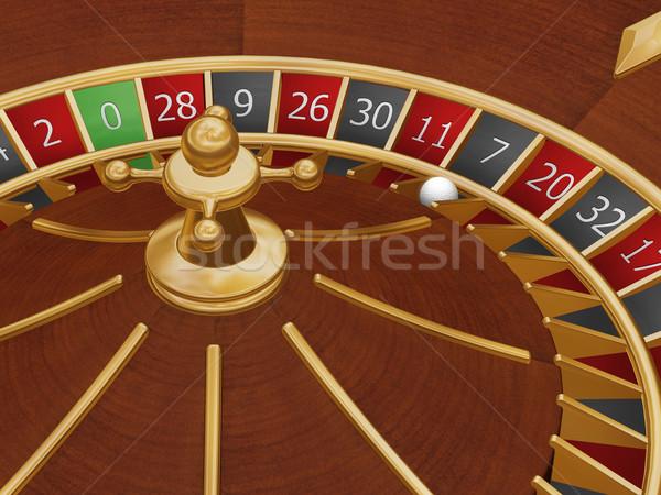 Szerencsés hét rulettkerék labda szám háttér Stock fotó © kjpargeter