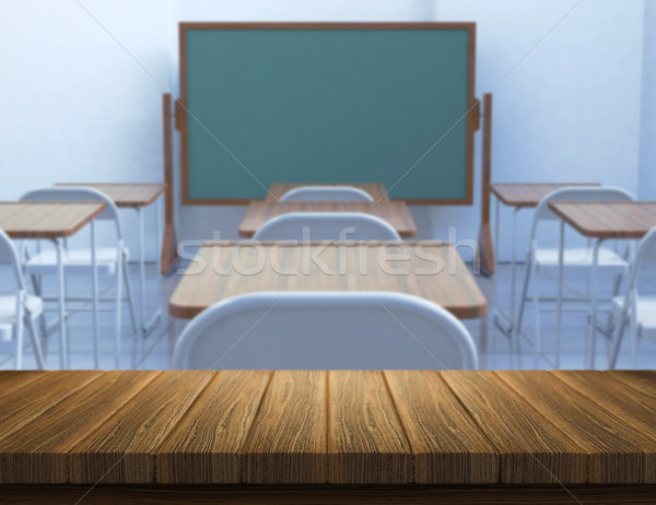 3D wood table with defocussed classroom Stock photo © kjpargeter