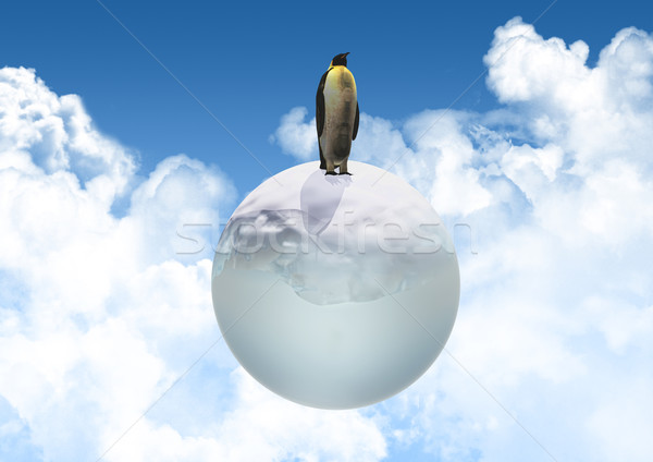 3D penguin on an icy globe Stock photo © kjpargeter
