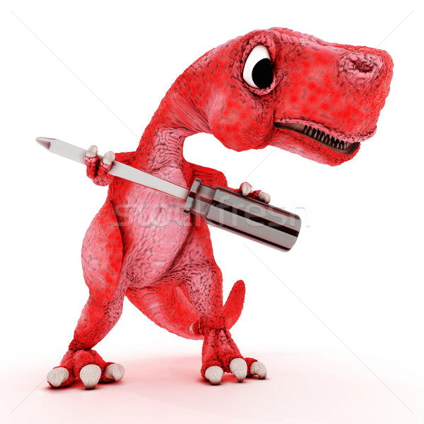 Friendly Cartoon Dinosaur with screwdriver Stock photo © kjpargeter
