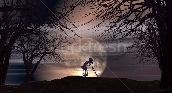 Halloween background with spooky trees Stock photo © kjpargeter
