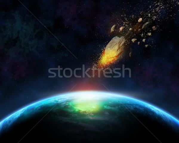 3D űr meteorit jelenet égbolt tájkép Stock fotó © kjpargeter