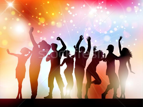 Buli sziluettek emberek tánc absztrakt fények Stock fotó © kjpargeter