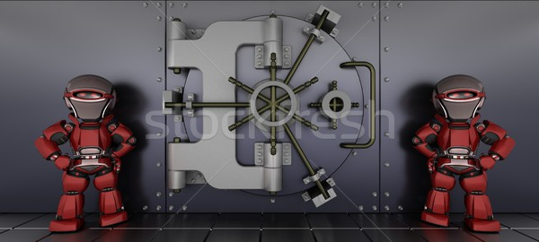 robots guarding a bank vault Stock photo © kjpargeter