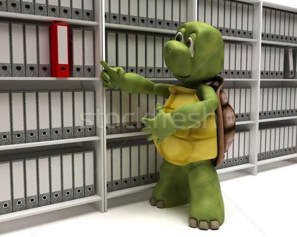 Tortoise filing documents Stock photo © kjpargeter