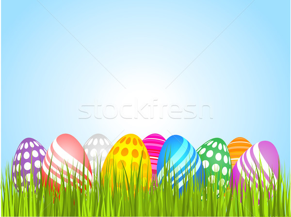 Easter eggs in grass Stock photo © kjpargeter