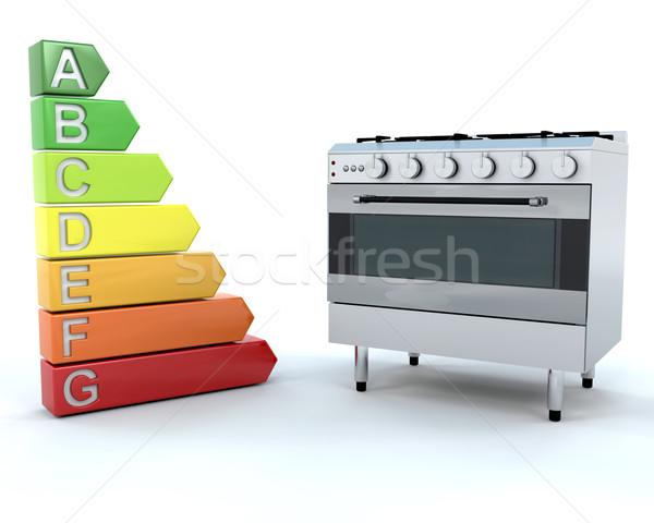 Alcance forno energia 3d render cozinha alto Foto stock © kjpargeter