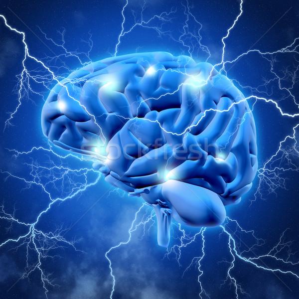 3D mózgu błyskawica 3d chmury medycznych Zdjęcia stock © kjpargeter