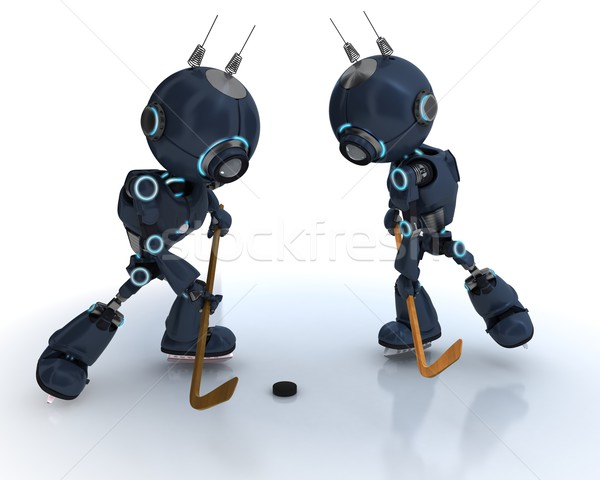 Androids playing ice hockey Stock photo © kjpargeter