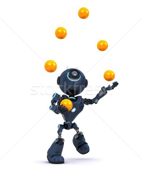 Android jongleren 3d render man Stockfoto © kjpargeter