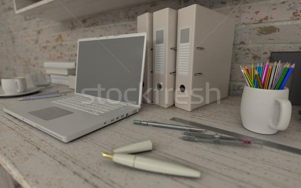 Biały wnętrza biurko półka na książki 3d książek Zdjęcia stock © kjpargeter