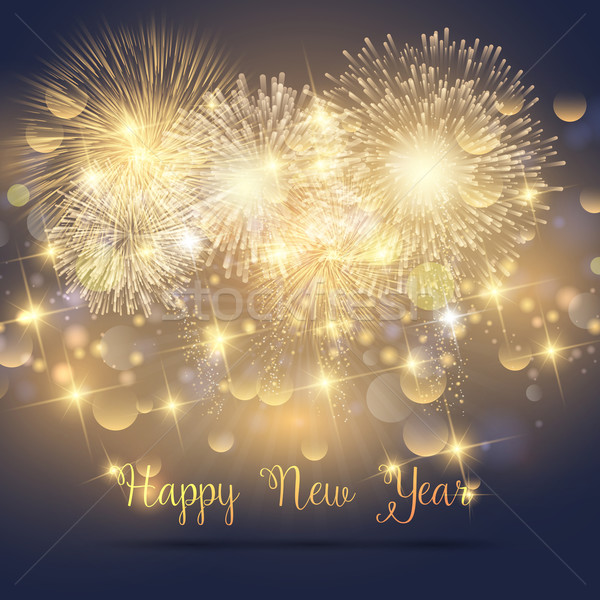Happy New Year fireworks background Stock photo © kjpargeter