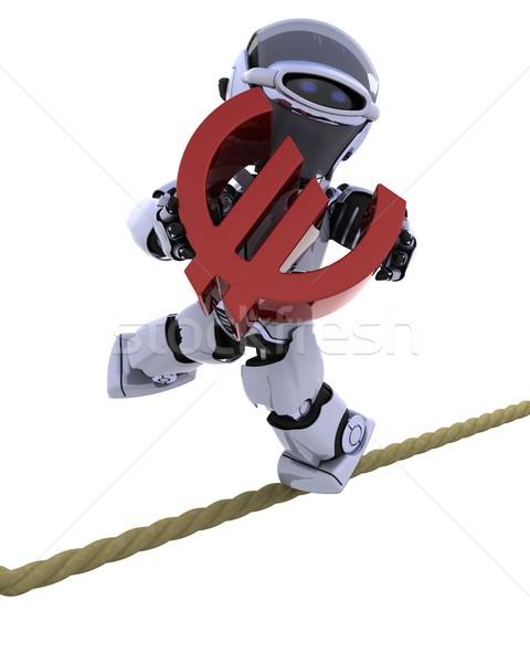 Robot strak touw 3d render balancing toekomst Stockfoto © kjpargeter